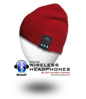 Chill Wireless Bluetooth Headphone Beanie, Red