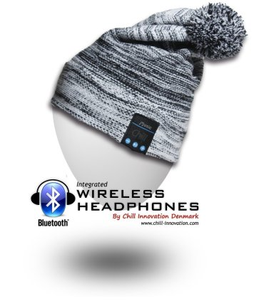 Chill Wireless Bluetooth Headphone Beanie, Black/White