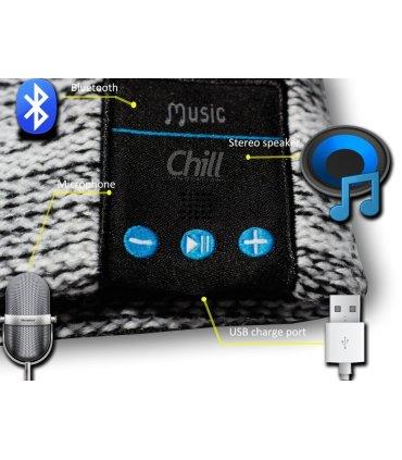 Chill trådløs Bluetooth høretelefon hue med Fleece, Sort/Hvid