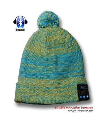 Chill trådløs Bluetooth Hodetelefon Lue med Fleece. Grønn / Blå