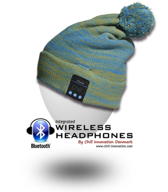 Chill Wireless Bluetooth Headphone Beanie with Fleece. Green / Blue
