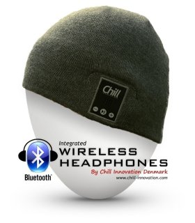 Chill Wireless Bluetooth Headphone Music Beanie, Grey