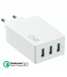 Chill 3-port 30W USB Oplader med Quick Charge 3.0, Smart-IQ, EU/Dansk stik