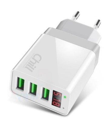 Chill 3-port USB oplader med LED Display, 5V/3.1A, Smart-IQ, EU/DK stik