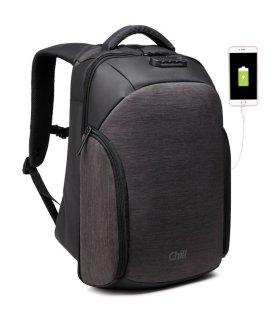 Chill Stealth stöldsäker & vattenavvisande ryggsäck, svart/grå
