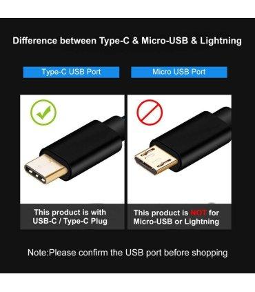 USB Type-C / USB-C kabel, flettet svart, 50 cm