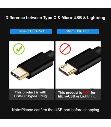 USB Type-C / USB-C kabel, sort vævet tekstil, 50 cm