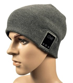 Chill Wireless Bluetooth Headphone Music Beanie, Grey