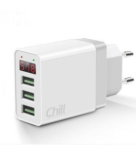 Chill 3-port USB lader, LED Display, 5V/3.1A, Smart-IQ, EU plugg