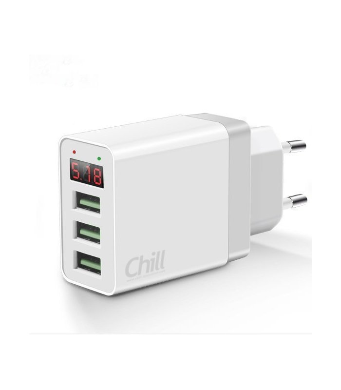 Chill 3-port USB laddare, LED Display, 5V/3.1A, Smart-IQ, EU plug