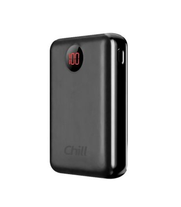 Chill 10000mAh Mini USB Power Bank med LED-skjerm. USB-C og Lightning port, Svart