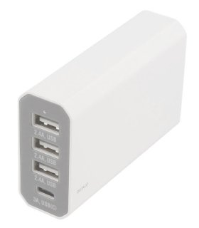 Chill Deltaco 4-port USB ladestation, USB-C, 5V/8A (40W), Smart-IQ, EU/DK stik
