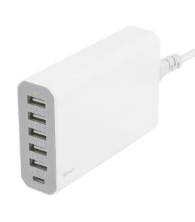 Chill Deltaco 6-port USB ladestation, USB-C, 5V/12A (60W), Smart-IQ, EU/DK stik