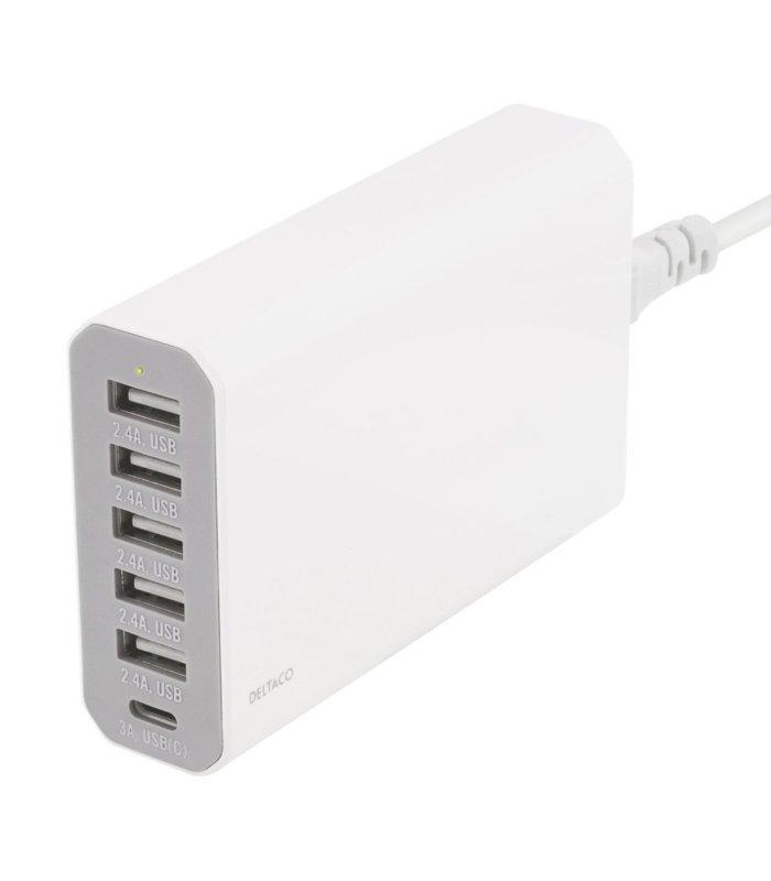 Chill Deltaco 6-port USB Ladestasjon, USB-C, 5V/12A (60W), Smart-IQ, EU