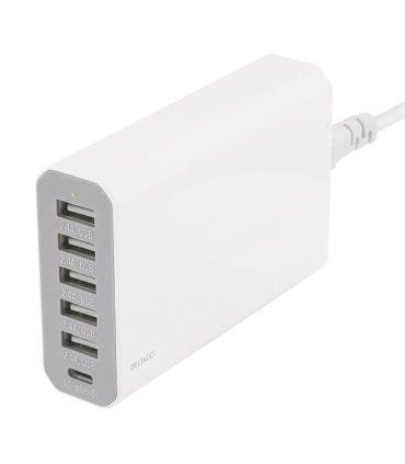 6-port USB ladestation, USB-C, 5V/12A (60W), Smart-IQ, EU/DK stik
