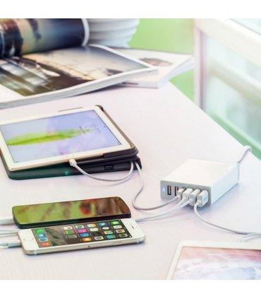 Chill Deltaco 6-port USB ladestation, USB-C, 5V/12A (60W), Smart-IQ, EU/DK stik