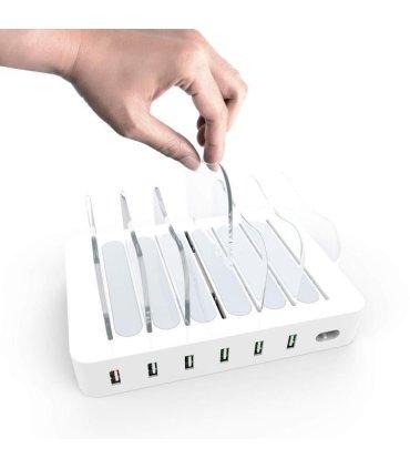 Chill Deltaco 6-port USB Ladestasjon, 5V/10A (50W), Smart-IQ, EU