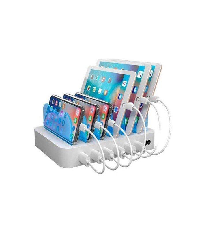 6-port USB Ladestasjon, 5V/10A (50W), Smart-IQ, EU