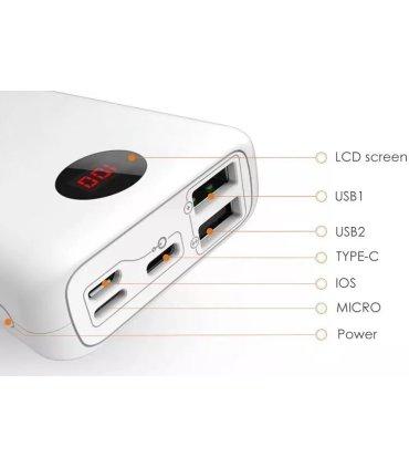 Chill 10000mAh Mini USB Strömbank med LED Display. USB-C & Lightning-port, Vit