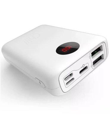 Chill 10000mAh Mini USB PowerBank med Display, USB-C, Lightning & Micro-USB port. Hvid