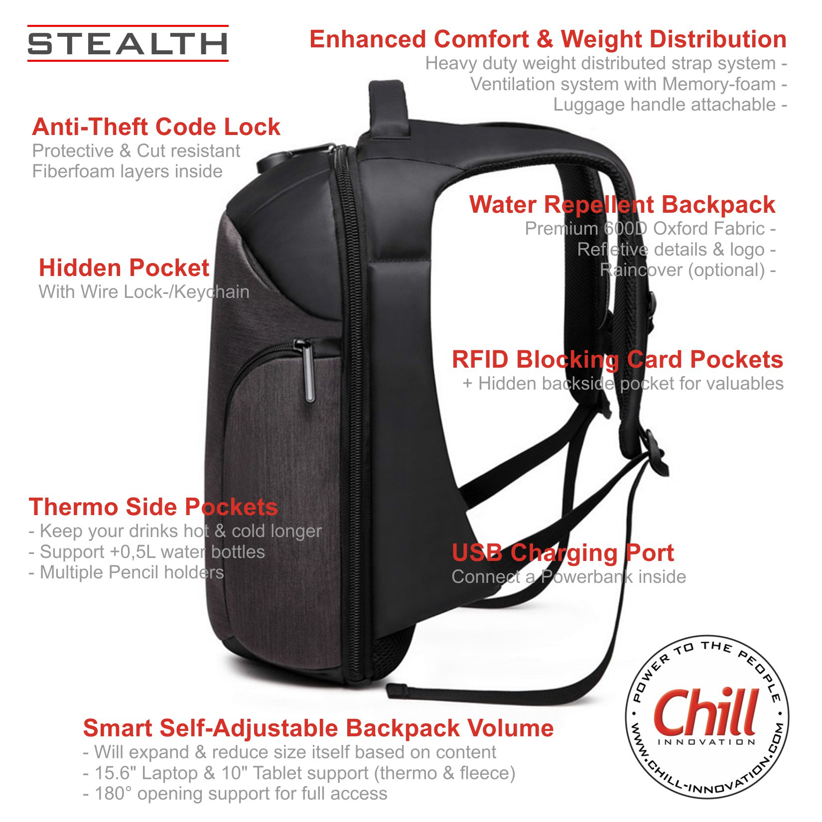 Chill Stealth Anti-theft Backpack Features