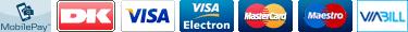 Dankort, Visa/Dankort, Visa Electron, Mastercard, Maestro